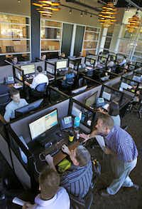 """This social media work area at the Splash Media offices in Addison is known as """"the reef."""""""
