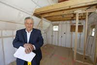 Rudy Rivas, CEO of M. Christopher Custom Homes photographed Wednesday February 10, 2016 in his company's Tiny Haus, currently under construction in Lucas, Texas. The house is under 200 square feet, built to city codes, and can be moved to your location.Ron Baselice  -  Staff Photographer