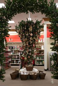 An upside-down Christmas tree at the J.C. Penney in Stonebriar Centre in Frisco