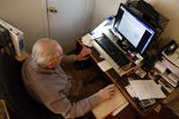 Arno Zwillenberg, 91, is doing online training at his personal computer to become a notary public at his town home in Dallas on November 15, 2013. (Kye R. Lee/The Dallas Morning News)(Kye R. Lee - Staff Photographer)