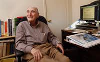 Arno Zwillenberg, 91, is doing online training at his personal computer to become a notary public at his town home in Dallas on November 15, 2013. (Kye R. Lee/The Dallas Morning News)Kye R. Lee - Staff Photographer