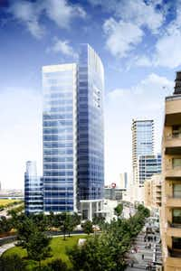 Developer KDC  plans a 23-story office tower (shown in a rendering) in Victory Park, which is finally taking off with apartments and commercial construction.