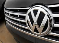 A detail shot of the grill of a Volkswagen at Lewisville Volkswagen.