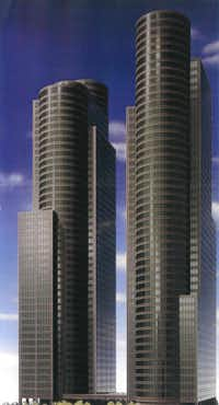 The late 1980s plan for the Lone Star Plaza office tower project in Dallas Arts District.