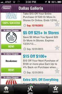 When a shopper enters one of 11 area malls, RetailMeNot's smartphone app automatically compiles a list of coupons from retailers inside.