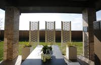 Outdoor eating area in the MainVue Homes Carmel Q1 model home at Phillips Creek Ranch in Frisco, on Tuesday, February 17, 2015. (Vernon Bryant/The Dallas Morning News)Vernon Bryant - Staff Photographer