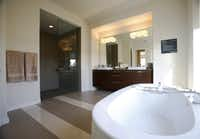 Master bathroom in the MainVue Homes Carmel Q1 model home at Phillips Creek Ranch in Frisco, on Tuesday, February 17, 2015. (Vernon Bryant/The Dallas Morning News)Vernon Bryant - Staff Photographer