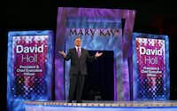Mary Kay CEO David Holl practices his opening remarks for the Mary Kay 50th anniversary seminar at the Dallas Convention Center. He give his speech five times over 2 1/2 weeks to Mary Kay attendees coming in waves of 10,000.