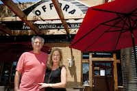 Co-owners Aron and Rainey Fogiel, on the patio at the new Hoffbrau Steaks in North Dallas, had been looking for a smaller neighborhood market.
