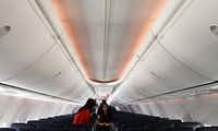 Southwest Airlines employees toured a passenger cabin at a launch party in March for the airline's newest plane, the Boeing 737-800.