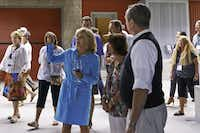 Kathryn Hall talks about Hall Wines with a group touring the St. Helena visitors center. The winery's best-known label, Kathryn Hall cabernet sauvignon, retails for $125 to $350 a bottle; the least expensive, a 2012 Walt sauvignon blanc, is $22.( Adri·n Gregorutti  -  Special Contributor )