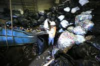 Gilbert Chavez empties trash bags of cans for recycling at Jacobs Iron and Metal. The industry is working with law enforcement to stop unscrupulous scrapyards from buying stolen metals.(  David Woo  -  Staff Photographer )