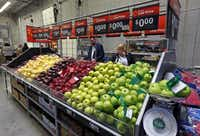 A produce display set up for training purposes at Wal-Mart's new 'Talent Center' in Irving.(Michael Ainsworth - Staff Photographer)