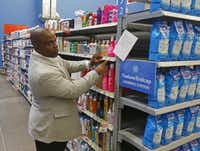 Store shelves and endcaps are set up for training at Wal-Mart's new Talent Center in Irving.(Michael Ainsworth - Staff Photographer)