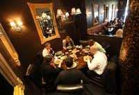 Diners enjoy lunch at Jorge's Tex-Mex Cafe in One Arts Plaza in Dallas.