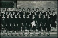 Carole DiSalvo, on the far right of the middle row, posed with her graduating class early in her career at American. She spoke last week to the carrier's first class of new-hire flight attendants in 12 years.