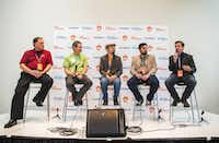 (From left) Dan Kardell of GeoWhiz, Daniel Cocanougher of AllCal, moderator Kevin Kirkpatrick, Nolan Clemmons of Wufasta and Todd McGee of Cataboom participate in a panel discussion about marketing through gaming during Dallas Startup Week on Tuesday, April 12, 2016 at 1700 Pacific Avenue in downtown Dallas.  (Ashley Landis/The Dallas Morning News)(Ashley Landis - Staff Photographer)