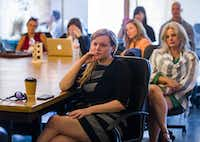 "Darlene Schneider (center) and other participants listen to a session called ""Travel: Travel CEO Panel"" during Dallas Startup Week activities on Tuesday, April 12, 2016 at Kowork in Dallas.  (Ashley Landis/The Dallas Morning News)(Ashley Landis - Staff Photographer)"