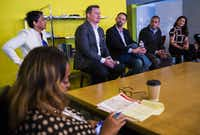 "Panelists discuss the advantages of travel in a session called ""Travel: Travel CEO Panel"" during Dallas Startup Week activities on Tuesday, April 12, 2016 at Kowork in Dallas.  (Ashley Landis/The Dallas Morning News)(Ashley Landis - Staff Photographer)"