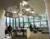 Participants work in a lounge area during Dallas Startup Week activities on Tuesday, April 12, 2016 at 1700 Pacific Avenue in Dallas.  (Ashley Landis/The Dallas Morning News)(Ashley Landis - Staff Photographer)