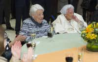Centenarians Ebby Halliday (left) and Margaret McDermott were among the high-powered attending the UTD event.