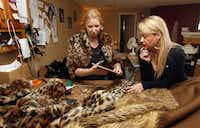 Jill Turney, left, and Beth Barnett, owner of SpAZooiE, brainstorm about a design of a jacket that her company was making, using high-quality faux fur. She also makes shrugs, muffs and other accessories, pictured in her workshop in North Richland Hills on January 14, 2014.