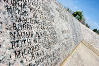 In this March 14, 2008 file, a monument is seen in front of the current New London school in New London, Texas, displaying the names of the ones killed in the 1937 gas explosion that also destroyed the school. It was 73 years ago on March 18, 1937, when the explosion killed more than  282 students and 14 adults.