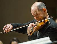Concertmaster Alexander Kerr was featured in the The Dallas Symphony Orchestra's performance of William Walton's Violin Concerto.(Ashley Landis - Staff Photographer)