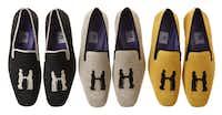 Slip up: Hadleigh's linen tuxedo slippers, customizable, $395 a pair, Hadleigh's Bespoke