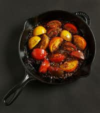 Glaze fresh tomatoes  with a splash of balsamic vinegar and butter for a simple but elegant presentation.(Vernon Bryant - Staff Photographer)
