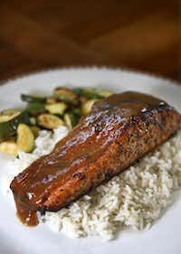Jerk-Spiced Salmon with Mezcal-Tamarind Glaze(Jae S. Lee/The Dallas Morning News)