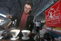 Just try to resist the Palmieri Café and its pour-over coffee, made here by Oscar Bustamante at the Dallas Farmers Market.( Michael Ainsworth  - Staff Photographer)