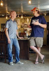 Wine panelist James Tidwell (left) chews the fat with Justin Fourton of Pecan Lodge.Tom Fox - Staff Photographer
