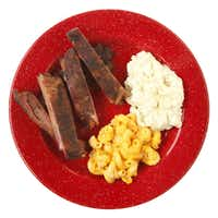 Dickey's Barbecue Pit Ribs, Potato Salad, and Macaroni and Cheese
