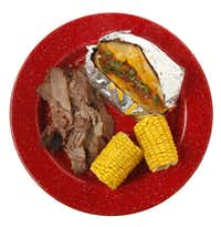 Dickey's Barbecue Pit Brisket, Baked Potato and Corn on the Cob