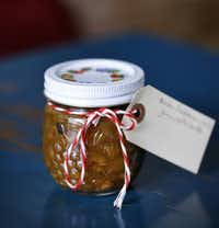 The housemade Onion/Calabrian Chile Jam, with Lardo, used as a topping to the Chicken Liver Crostini at Lucia.