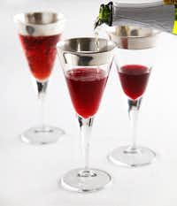 Let the good cheer flow with pomegranate juice mixed with sparking apple cider, served in champagne flutes.