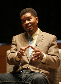 Author Omar Tyree visits with the audience during the Author Talk event at the Dallas Book Festival.( Jae S. Lee  -  Staff Photographer )