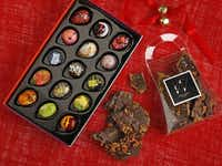 Kate Weiser Chocolate produces abstract painted truffles (left) and Kate's Bacon Toffee, which is 55 percent dark chocolate.Evans Caglage - Staff Photographer