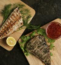 Fish such as salmon (left) and tuna are good for grilling.