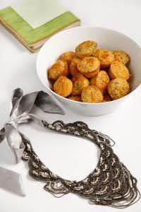 Cheddar Cornbread Mini-Muffins are so moist they can sit out for hours without getting stale. Bowl from Napa Home, necklace from Stella and Dot.