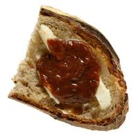 Butter and Strawberry Rhubarb Jam from Village Baking Co. on Rye Bread also from Village Baking Co.(Evans Caglage - Staff Photographer)