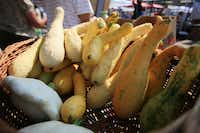 A variety of squash, including zuchetta, zephyr and pattypan from Rae Lili Farm in Cooper, was available Saturday at the White Rock Local Market.