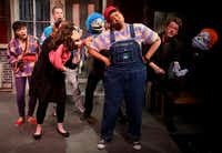 The cast of Avenue Q performs the opening number of Avenue Q on January 11, 2014 at Stage West Theatre in Fort WorthSarah Hoffman - Staff Photographer