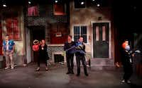 The cast of Avenue Q performs the opening number of Avenue Q on January 11, 2014 at Stage West Theatre in Fort Worth(Sarah Hoffman - Staff Photographer)