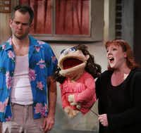 Chester Maple, as Brian, left, and Megan Kelly Bates, as Kate Monster perform the opening number of Avenue Q on January 11, 2014 at Stage West Theatre in Fort Worth(Sarah Hoffman - Staff Photographer)