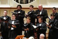 The Orpheus Chamber singers perform at Preston Hollow Presbyterian Church on Sunday.