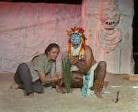 Lauren Mishoe as the Westerner and Jasso as Quetzalcoatl find common ground in Teotl: The Sand Show.( Nan Coulter  -  Special Contributor )