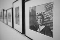 Cindy Sherman's film stills are black-and-white photographs that feature the artist in stereotypical female roles inspired by 1950s and 1960s movies.
