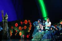 Wicked Witch of the West (Jacquelyn Piro Donovan, left) (CQ) and Dorothy (Danielle Wade, center right) perform in opening night of Dallas Summer Musicals The Wizard of Oz at Music Hall at Fair Park in Dallas, Texas, Wednesday, March 19, 2014.Allison Slomowitz - Special Contributor